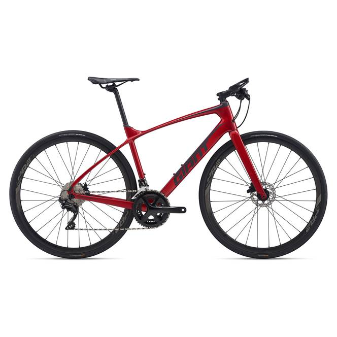 2020 Giant FastRoad Advanced 1 Carbon Flat Bar Road Bike in Red